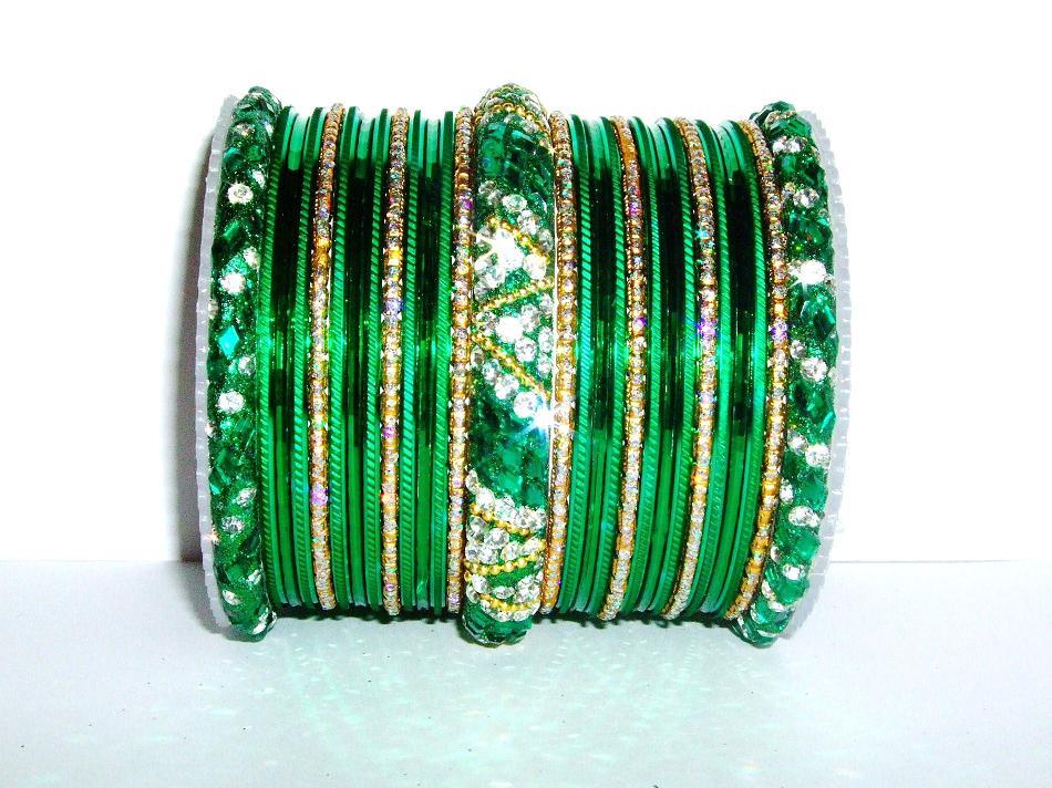 Green Amp Gold Indian Fashion Bangles