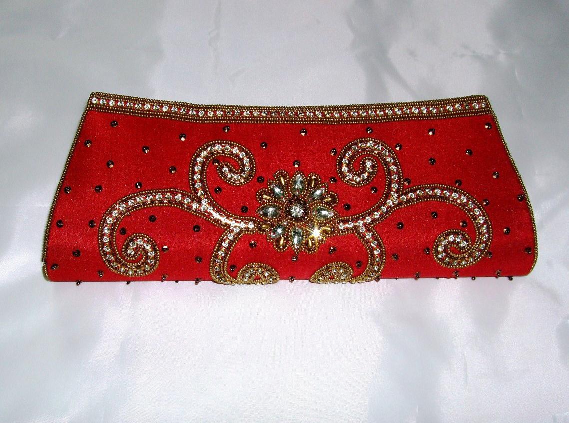 Red Diamante Indian Bridal Clutch Bag