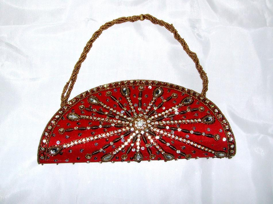 Red Sequin Indian Bridal Clutch Bag
