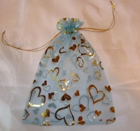 Blue Gold Heart Design Organza Favour Bags (Pack of 20)