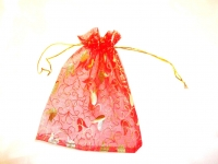 Red Tulip Design Organza Favour Bags (Pack of 12)