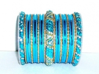 Blue & Gold Indian Fashion Bangles