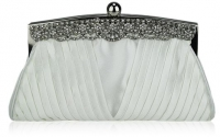 Ivory Ruched Satin Clutch with Crystal Decoration