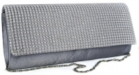Silver Diamante Encrusted Evening Clutch Bag