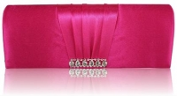 Pink Crystal Satin Clutch Purse