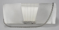 Silver Crystal Satin Clutch purse