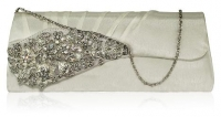 Ivory Ruched Satin Clutch With Crystal Flower