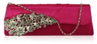 Pink Ruched Satin Clutch With Crystal Flower