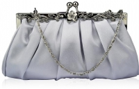Silver Crystal Evening Clutch Bag