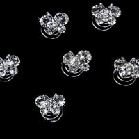 12 Precious Silver Clear Crystal Butterfly Twist-Ins