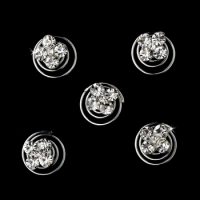12 Glittering Silver Clear Rhinestone Twist-Ins