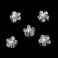 12 Fabulous Silver Clear Rhinestone & White Pearl Twist-Ins