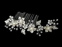 Silver Rhinestone & Pearl Bridal Comb