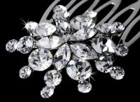 Ravishing Silver Starburst Hair Comb w/ Clear Rhinestones