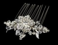Petite Silver Tiara Bridal Comb w/ Clear Rhinestones & Austrian Crystals
