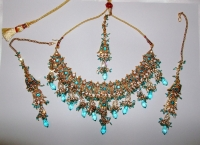 Turquoise & Gold Indian Jewellery Set