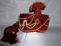 """Maroon & Gold Indian Groom Turban - 24"""""""