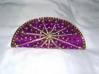 Purple Diamante Indian Clutch Bag