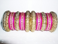 NEW COLLECTION: Rani Pink / Fuschia & Gold Indian Fashion Bangles