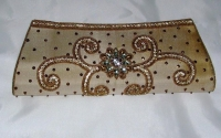 Light Gold Diamante Indian Clutch Bag