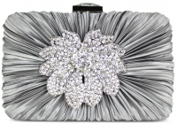 Gorgeous Crystal Satin Rouched Brooch Hard Case Silver Grey Evening Bag
