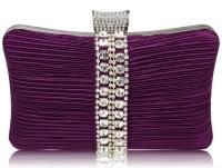 Gorgeous Purple Sparkly Diamante Strip Clutch Evening Bag