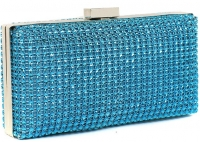 Blue Sparkly Diamante Evening Clutch