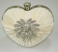 Ivory Crystal Flower Hardcase - Heart Clutch Bag