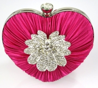 Pink Crystal Flower Hardcase - Heart Clutch Bag