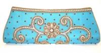 Blue Diamante Indian Clutch Bag