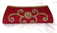 Maroon Sequin Indian Bridal Clutch Bag