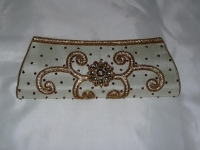 Cream Sequin Indian Clutch Bag