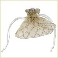 Glittery Diamond Striped Favour Bags (Ivory/Gold) - Pack of 10