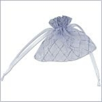 Glittery Diamond Striped Favour Bags (White/Silver) - Pack of 10