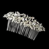 Vintage Silver Clear Crystal & Rhinestone Bridal Hair Comb