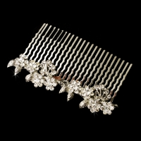 Charming Antique Silver Floral Hair Comb