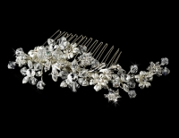 Striking Silver Floral Bridal Hair Comb w/ Austrian Crystals 8561
