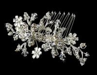 Versatile Silver Floral Hair Comb & Brooch w/ Swarovski Crystals 8005