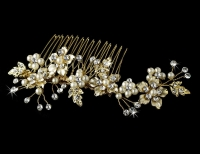 Elegant Bridal Pearl Hair Comb Accent Comb 039 Gold