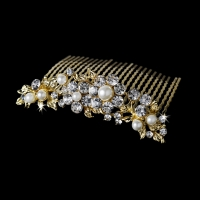 Marvelous Gold Floral Bridal Comb w/ Clear Rhinestones & Ivory Pearls 8280