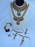 SIX Piece Stunning Red, White & Gold Jewellery Set