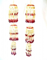 Beautiful 3-Tier Bridal Kaleera - Maroon/Gold
