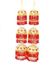 Stunning 3-Tier Bridal Kaleera - Red/Gold