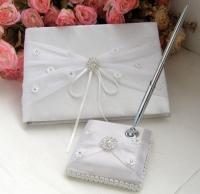 Beautiful White Guest Book & Matching Pen Set